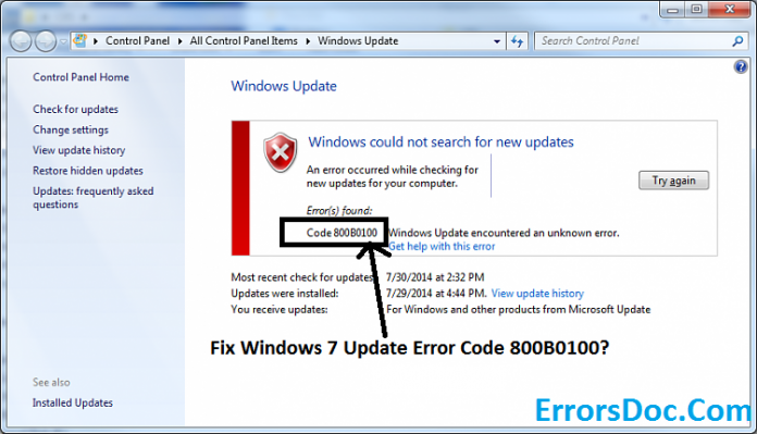 Windows 7 Error Codes