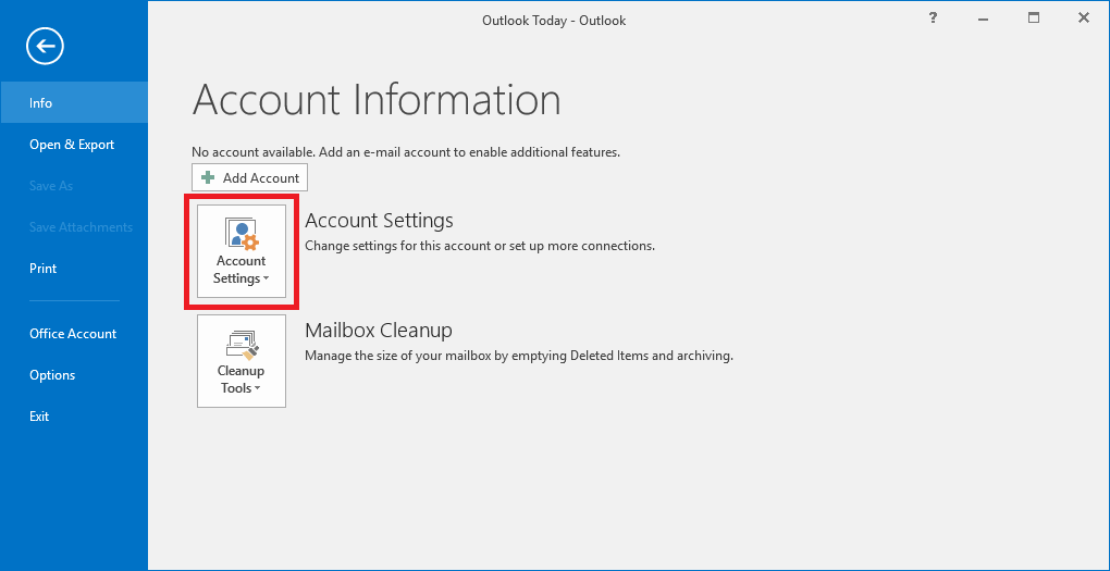 Go to File tab and choose Account Settings